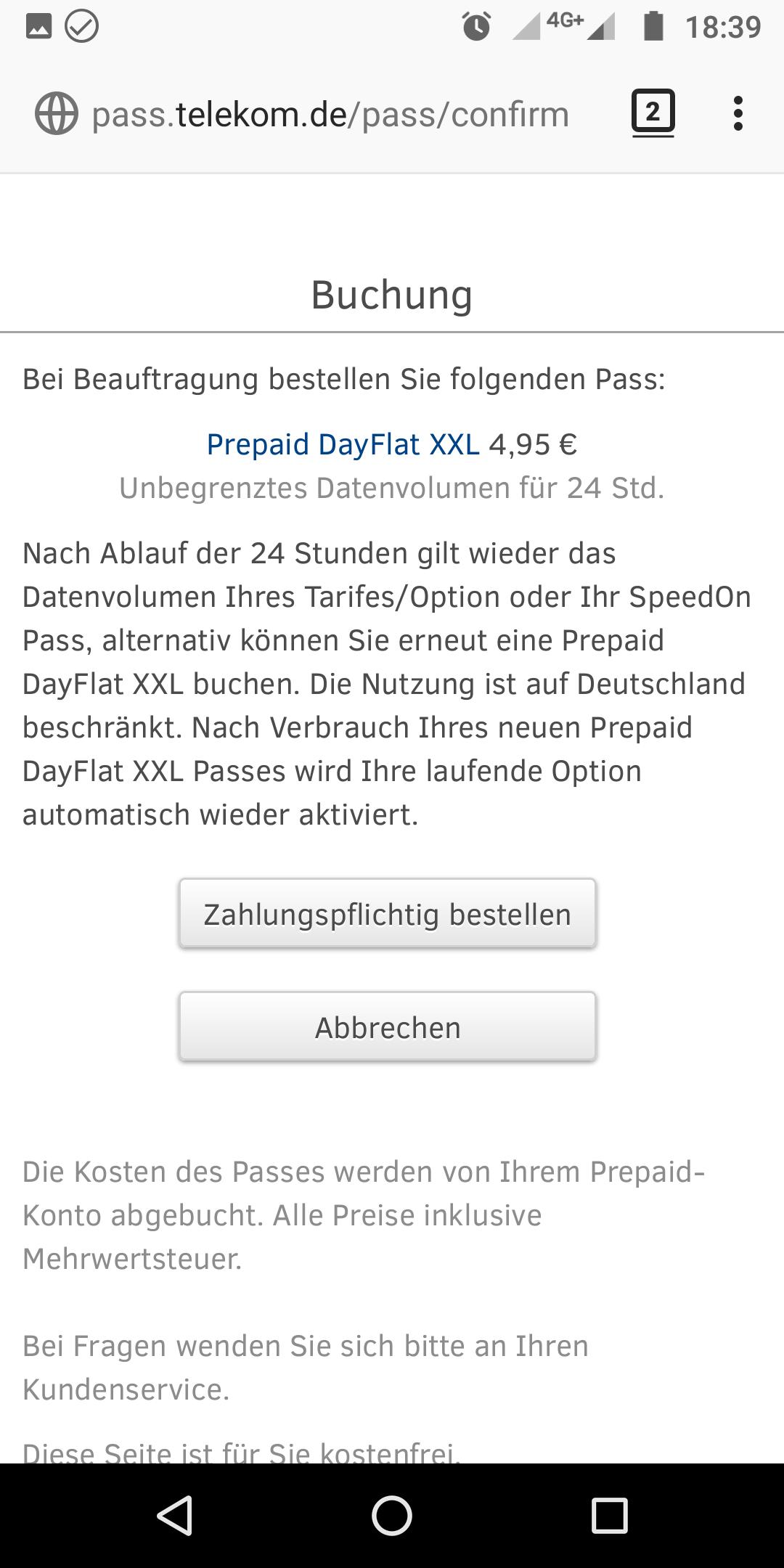 Prepaid Dayflat Xxl