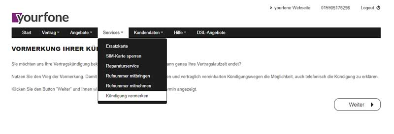 Screenshot Kündigung