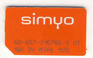 Blau Sim Kartennummer.Simyo